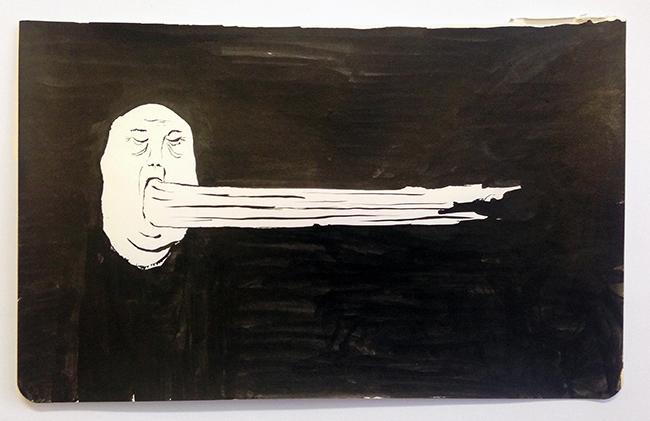 Man puking sideways