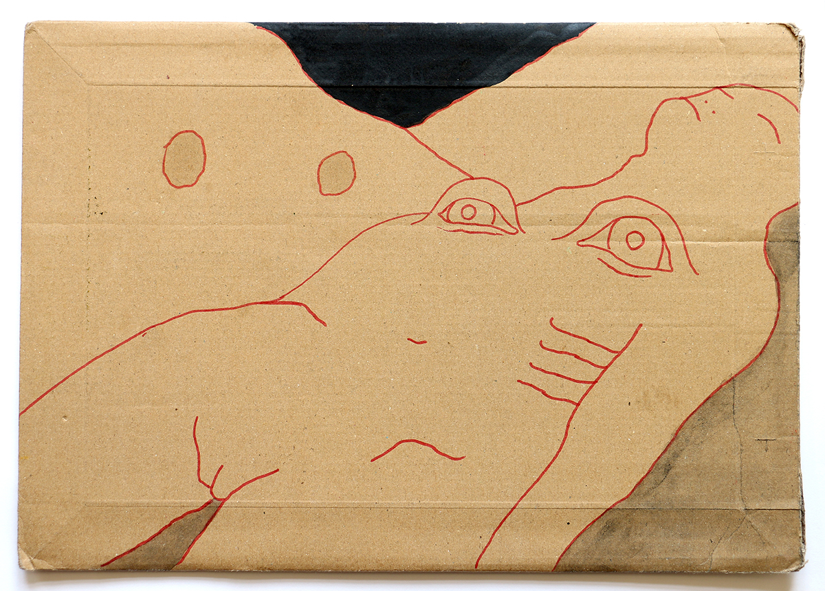 Me, the body and the night keeping an eye (on cardboard envelope)